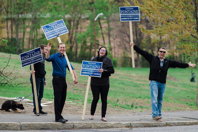 Candidate Nathan Fontaine joins his supporters outside Ward 2 polling location Frances Drake Elementary School during the Ward 2 City Council special election on Tuesday, May 9, 2017. SENTINEL & ENTERPRISE / Ashley Green