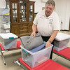 The Leominster Office of Emergency Management has a warming station at their facility that they open in times of need. Jim LeBlanc the director of the Office of Emergency Management shows off the cots and boxes of blankets and pillows they have for the guests. SENTINEL & ENTERPRISE/JOHN LOVE