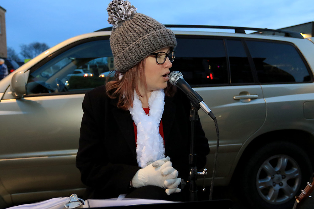 . The 13th Annual Leominster Holiday Stroll was held on on Saturday, December 1, 2018 in Downtown. Entertaining the crowd at the stroll with Ryan Hood from Phillipston is Erin Girouard from Royalston.  SENTINEL & ENTERPRISE/JOHN LOVE