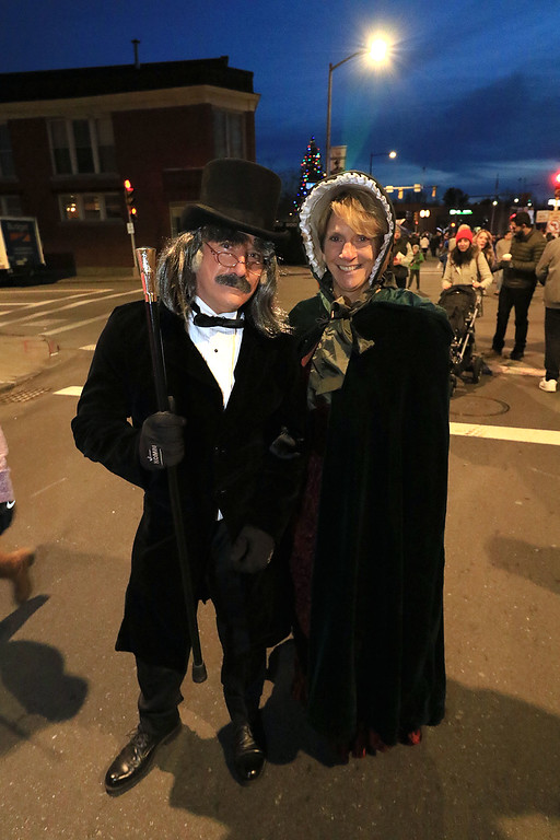 . The 13th Annual Leominster Holiday Stroll was held on on Saturday, December 1, 2018 in Downtown. Having fun atr the stroll dressed up as Mr and Mrs Scrooge was Rick and Judy Jolimore of Ashby. SENTINEL & ENTERPRISE/JOHN LOVE