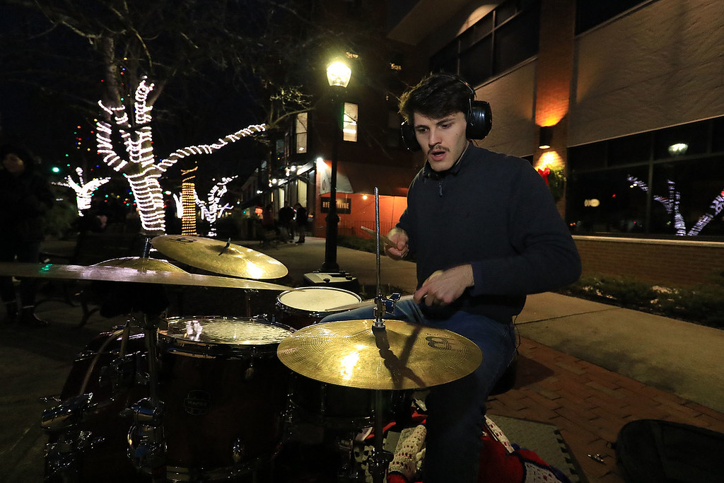 . The 13th Annual Leominster Holiday Stroll was held on on Saturday, December 1, 2018 in Downtown. Playing the drums to entertain the crowds for his second year was John Newsham, 22, of Fitchburg. SENTINEL & ENTERPRISE/JOHN LOVE