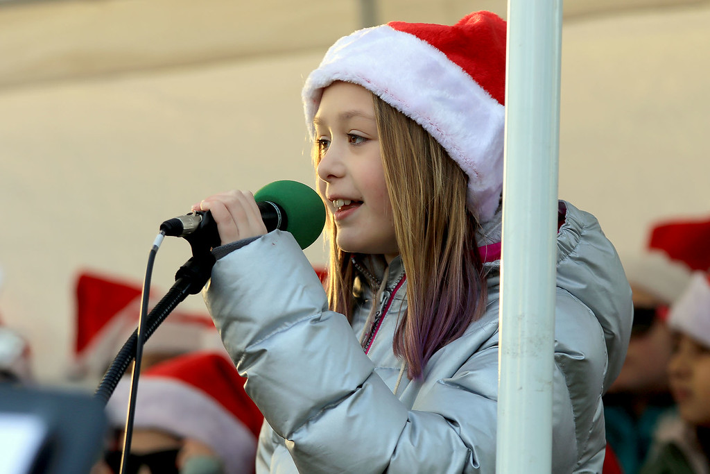 . The 13th Annual Leominster Holiday Stroll was held on on Saturday, December 1, 2018 in Downtown. The Fallbrook Songbirds entertained the crowd to start off the stroll. Fourth grader Elizabeth Lohman sings with the Songbirds. SENTINEL & ENTERPRISE/JOHN LOVE