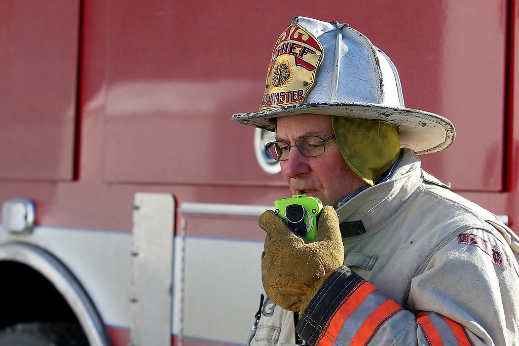 . Leominster Fire Chief Robert Sideleau coordinates the at the scene of a fire at 41 Hamilton Street in Leominster on January 6, 2018. SENTINEL & ENTERPRISE/JOHN LOVE