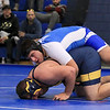 Leominster High School wrestling went up against  Andover High School on Saturday morning in Leominster. LHS's Zach Khallady wrestled Andover's Ethan Coyle. SENTINEL & ENTERPRISE/JOHN LOVE