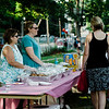 Anne Mola and Laurel Miller, of NewVue Communities, serve sandwiches during the National Night Out event held at Lowe Park in Fitchburg on Tuesday, August 1, 2017. SENTINEL & ENTERPRISE / Ashley Green
