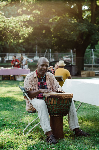 Jason Fitz-Gerald plays the drumms during the National Night Out event held at Lowe Park in Fitchburg on Tuesday, August 1, 2017. SENTINEL & ENTERPRISE / Ashley Green