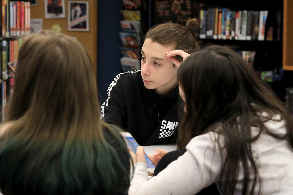 . Hanging out in the Lunenburg Public Library\'s teen room on Tuesday afternoon having fun with friends is Joey Dinan, 14. SENTINEL & ENTERPRISE/JOHN LOVE