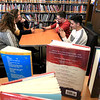 Hanging out in the Leominster Public Library's teen room on Tuesday afternoon is, from left clockwise, Lailanii, 12, Ariana Paine, 13, Andy Brown, 13, and Reda Basalamah, 13. SENTINEL & ENTERPRISE/JOHN LOVE