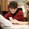 Hanging out in the Lunenburg Public Library's teen room on Tuesday afternoon having fun with friends is Josh Thompson, 14, and Callie Dik, 15.  SENTINEL & ENTERPRISE/JOHN LOVE