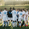 Leominster High huddles up during halftime in the game against Shepherd Hill on Tuesday afternoon. SENTINEL & ENTERPRISE / Ashley Green