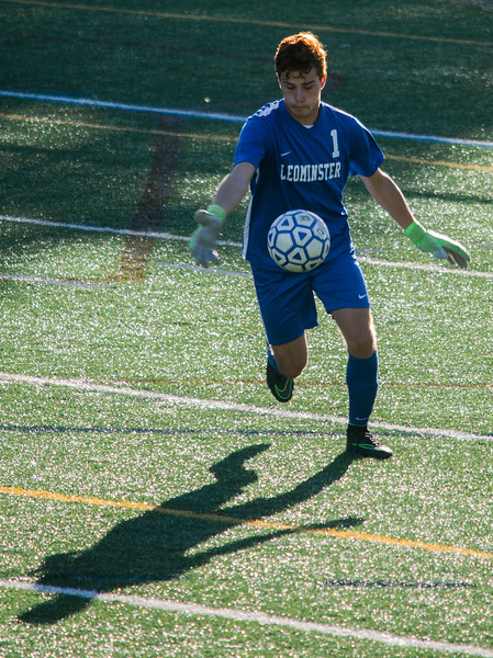 Leominster High goalie Facundo Cotto puts the ball in play during the game against Shepherd Hill on Tuesday afternoon. SENTINEL & ENTERPRISE / Ashley Green