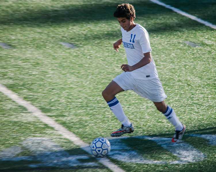 Leominster High's Victor de Oliveira chases down the ball during the game against Shepherd Hill on Tuesday afternoon. SENTINEL & ENTERPRISE / Ashley Green