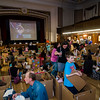 Children pile in their cardboard cars during the drive-in movie at Leominster City Hall on Thursday, February 23, 2017. Children were able to come in and design their own box car and enjoy pizza and snacks while watching 'Zootopia' on a large projector screen. SENTINEL & ENTERPRISE / Ashley Green