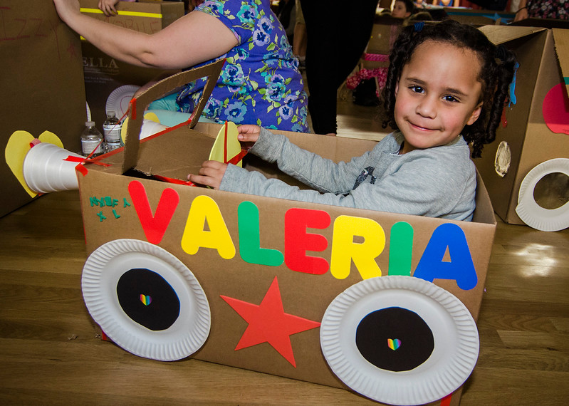 Valeria Sosa, 4, hangs out in her cardboard car during the drive-in movie night at Leominster City Hall on Thursday, February 23, 2017. Children were able to come in and design their own box car and enjoy pizza and snacks while watching 'Zootopia' on a large projector screen. SENTINEL & ENTERPRISE / Ashley Green