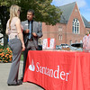 Leominster's Mayor's Office with North Central Career Centers of Leominster held a job fair on Tuesday morning on Monument Square in the city. Vice President with Santander Bank Ashwin Acharya talks to a job seeker during the fair. SENTINEL & ENTERPISE/JOHN LOVE