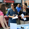 Leominster's Mayor's Office with North Central Career Centers of Leominster held a job fair on Tuesday morning on Monument Square in the city. Job seekers Chrifa Khaddaoui, 38, of Leominster and Shahara Martinez, 31, chat with Clarissa Sullivan with Bay State Interpreters, Inc. out of Gardner as they look for work at the fair. They both have been looking for work for just a few months. SENTINEL & ENTERPISE/JOHN LOVE