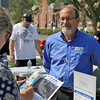 Leominster's Mayor's Office with North Central Career Centers of Leominster held a job fair on Tuesday morning on Monument Square in the city. Owner of Well-Being Total Home Care, Inc. Keith Lanzilotti talks to a job seeker during the fair. SENTINEL & ENTERPISE/JOHN LOVE