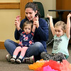 There were many children and their parents at Thursday, February 2, 2017  story hour at the Leominster Public Library. Enjoying the class lead by Children's Library Associate Amy Shea is Jessica Proietti and her daughters Claire Proietti, 14, months, in her lap and Maddison Proietti, 3. SENTINEL & ENTERPRISE/JOHN LOVE SENTINEL & ENTERPRISE/JOHN LOVE