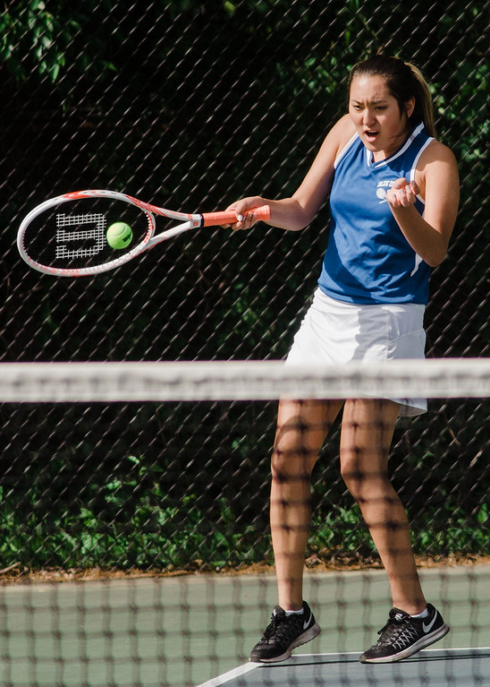 . Leominster\'s Mae-Ja Burns competes during the match against Shepherd Hill on Friday, May 19, 2017. SENTINEL & ENTERPRISE / Ashley Green