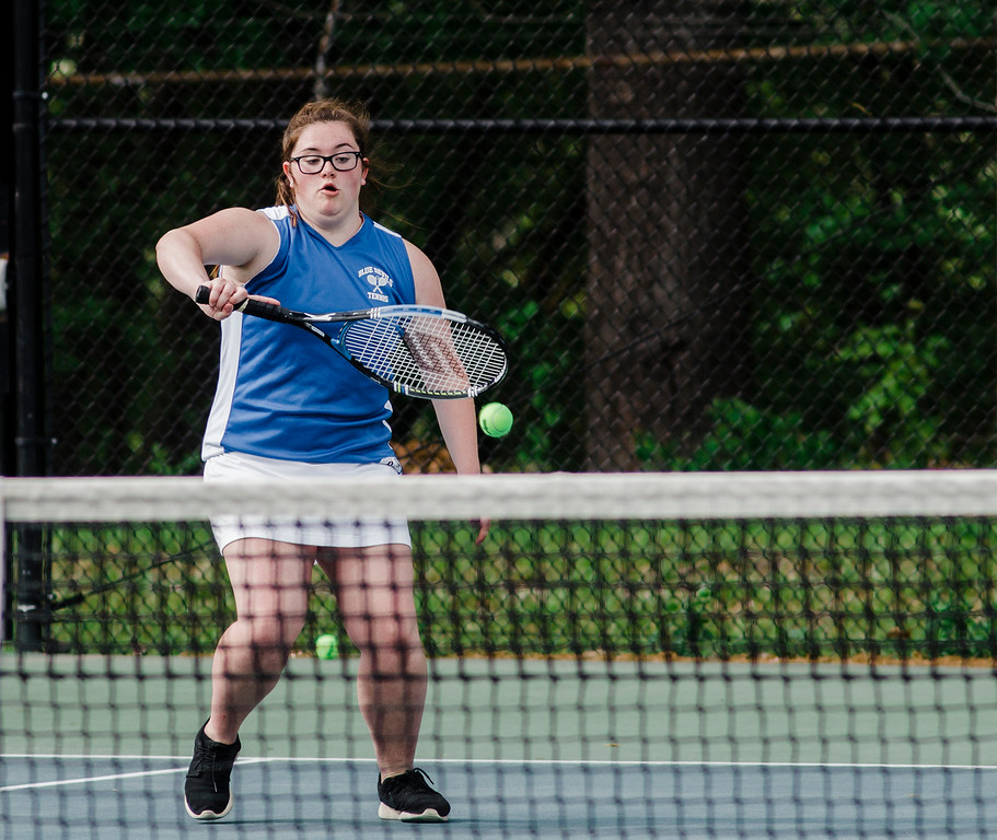 . Leominster\'s Liz Pryer competes during the match against Shepherd Hill on Friday, May 19, 2017. SENTINEL & ENTERPRISE / Ashley Green