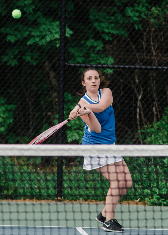 . Leominster\'s Ruby Roberge competes during the match against Shepherd Hill on Friday, May 19, 2017. SENTINEL & ENTERPRISE / Ashley Green
