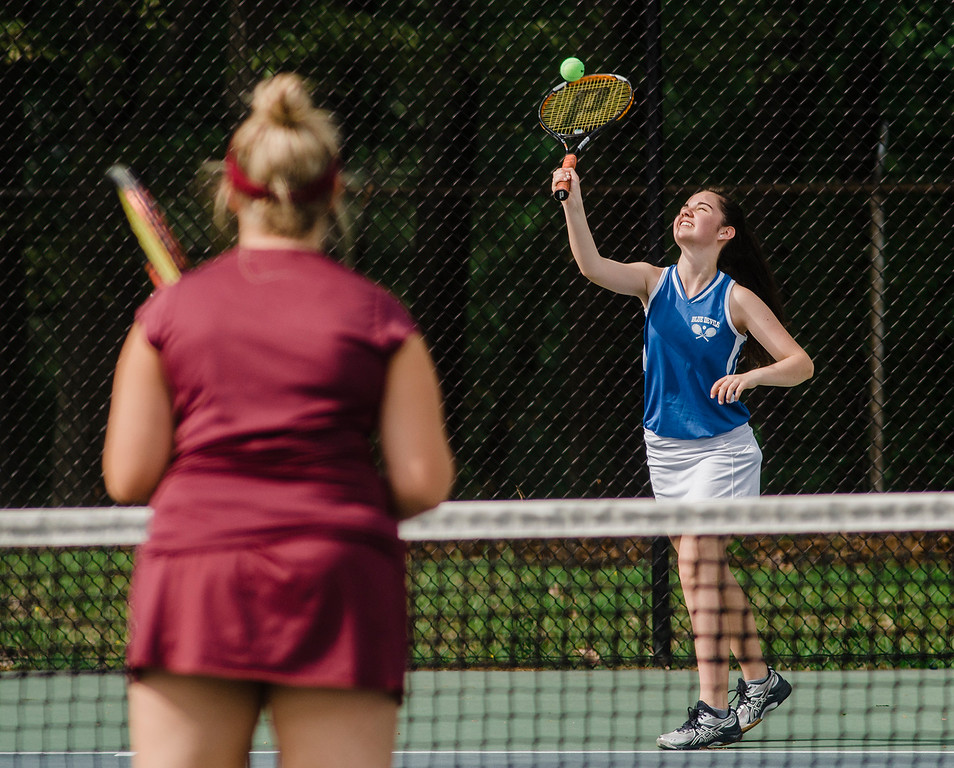 . Leominster\'s Claire Higginson competes during the match against Shepherd Hill on Friday, May 19, 2017. SENTINEL & ENTERPRISE / Ashley Green