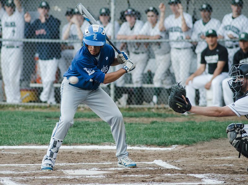 Leominster's Dylan Sousa watches a pitch during the Central Mass. D1 semfinal game against Wachusett on Wednesday, June 7, 2017. SENTINEL & ENTERPRISE / Ashley Green