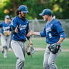 Leominster starting pitcher Lowell Pare gets some encouragement from James Powers  during the Central Mass. D1 semfinal game against Wachusett on Wednesday, June 7, 2017. SENTINEL & ENTERPRISE / Ashley Green