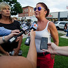 Brenda Giambrocco speaks to the media ahead of the vigil in memory of Leominster-born Vanessa Marcotte. Worcester County District Attorney Joseph Early Jr. confirmed during a press conference on Monday that the body of missing jogger and former Leominster resident Marcotte, 27, had been found in Princeton and that her death is being investigated as a homicide. SENTINEL & ENTERPRISE / Ashley Green
