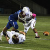 Leom's Dylan Tanner hits Marcus Ellis causing the a fumble, but was recovered by Algonquin