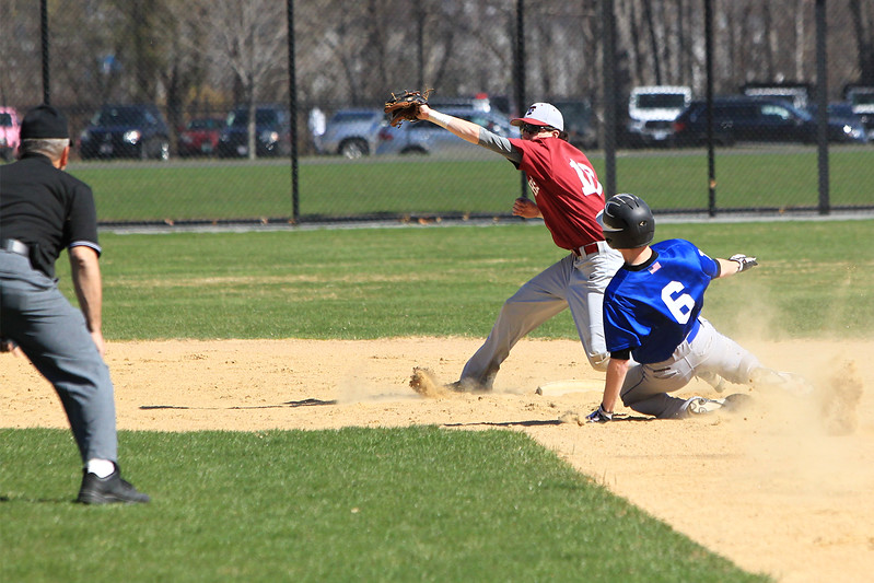 Leom Dom Fusco safe at 2nd with Sage Bray from Fitchburg attempting the out