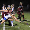 Leom Grace Adams fights for the ball with Fitch Hannah Faulkner