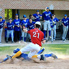 LHS Danny Garcia gets into home safely with NM Pat Aubuchon attempting the tag