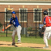 LHS Zach DelGiudace gets NM Tyler Mahoney at 1st base SENTINEL&ENTRPRISE/Scott LaPrade