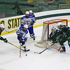 Leominster's Theo Reynolds maneuvers the puck towards the front of the net<br /> SENTINEL&ENTERPRISE/Scott LaPrade