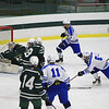 Leominster's Theo Reynolds gets off a shot on net<br /> SENTINEL&ENTERPRISE/Scott LaPrade