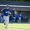Patrick Gallagher of Leominster hits a double to left field at the top of the 4th inning during Monday's tournament game at Doyle Field in Leominster against Shrewsbury.  SENTINEL & ENTERPRISE JEFF PORTER