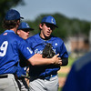 Leominster pitcher Patrick Gallagher celebrates with teammates after a strong inning during Monday's tournament game at Doyle Field in Leominster against Shrewsbury.  SENTINEL & ENTERPRISE JEFF PORTER