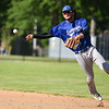 Leominster second baseman Lowell Pare throws out the runner at first during Monday's tournament game at Doyle Field in Leominster against Shrewsbury.  SENTINEL & ENTERPRISE JEFF PORTER