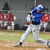 Leominster second baseman Patrick Gallagher hits the ball to center field at the top of the 6th in Wednesday's 6-3 win over St. John's in Worcester.  SENTINEL & ENTERPRISE JEFF PORTER