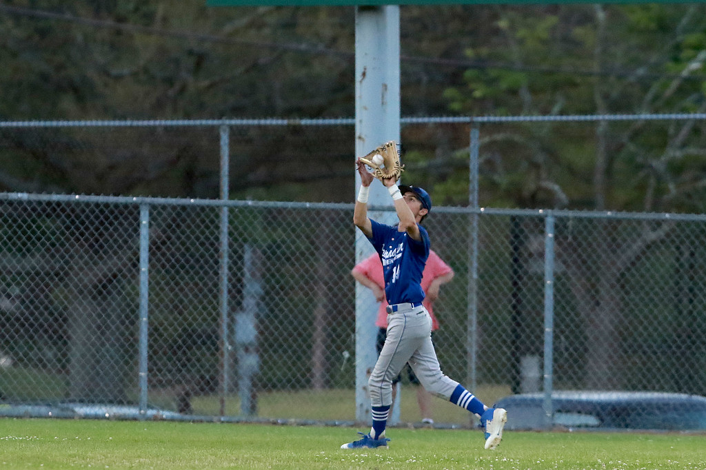 . Leominster High School played St. Peter-Marian at the Central Mass. Division 1 championship held at Tivnan Field at Lake Park on Saturday night. LHS player Jack Young makes a nice catch in center field during action in the game. SENTINEL & ENTERPRISE/JOHN LOVE
