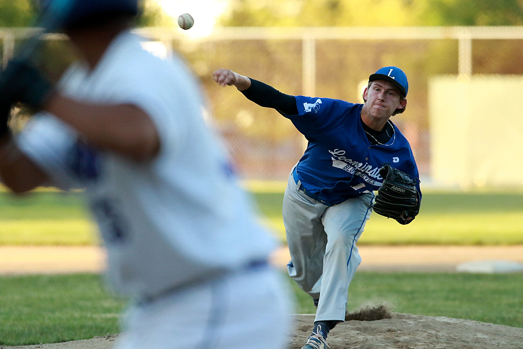 . Leominster High School played St. Peter-Marian at the Central Mass. Division 1 championship held at Tivnan Field at Lake Park on Saturday night. LHS pitcher Patrick Gallagher during action in the game. SENTINEL & ENTERPRISE/JOHN LOVE