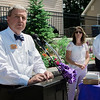 Peter MacDonald, of Sunrise Senior Living, speaks to a crowd gathered at Central Park in Leominster on Wednesday, June 21, 2017 for the dedication of the repurposed park. Economic Development Coordinator Lisa Marrone hopes to bring awareness to Alzheimer's disease and patient caregivers through the park. SENTINEL & ENTERPRISE / Ashley Green
