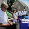 Bob Cote, of Leominster Caregivers Support Group Facility, speaks to a crowd gathered at Central Park in Leominster on Wednesday, June 21, 2017 for the dedication of the repurposed park. Economic Development Coordinator Lisa Marrone hopes to bring awareness to Alzheimer's disease and patient caregivers through the park. SENTINEL & ENTERPRISE / Ashley Green