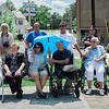 A crowd gathered at Central Park in Leominster on Wednesday, June 21, 2017 for the dedication of the repurposed park. Economic Development Coordinator Lisa Marrone hopes to bring awareness to Alzheimer's disease and patient caregivers through the park. SENTINEL & ENTERPRISE / Ashley Green