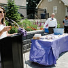 A crowd gathered at Central Park in Leominster on Wednesday, June 21, 2017 for the dedication of the repurposed park. Economic Development Coordinator Lisa Marrone (pictured)  hopes to bring awareness to Alzheimer's disease and patient caregivers through the park. SENTINEL & ENTERPRISE / Ashley Green