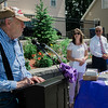 Bill Carter, of Leominster Caregivers Support Group Facility, speaks to a crowd gathered at Central Park in Leominster on Wednesday, June 21, 2017 for the dedication of the repurposed park. Economic Development Coordinator Lisa Marrone hopes to bring awareness to Alzheimer's disease and patient caregivers through the park. SENTINEL & ENTERPRISE / Ashley Green