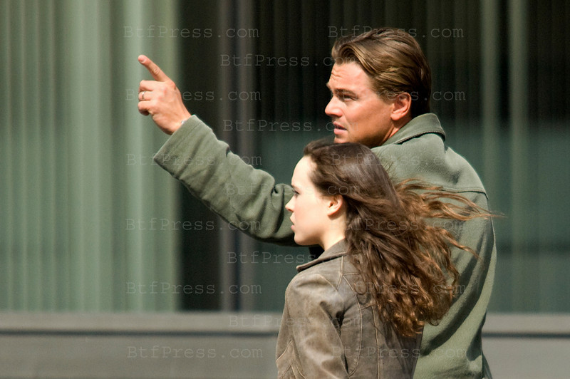 Leonardo DiCaprio and Ellen Page during the set of Oliver's Arrow in Los Angeles,California.