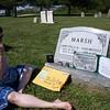 Visiting Dad, St. Xavier Church Cemetery, Leonardtown, MD, April 26, 2009.