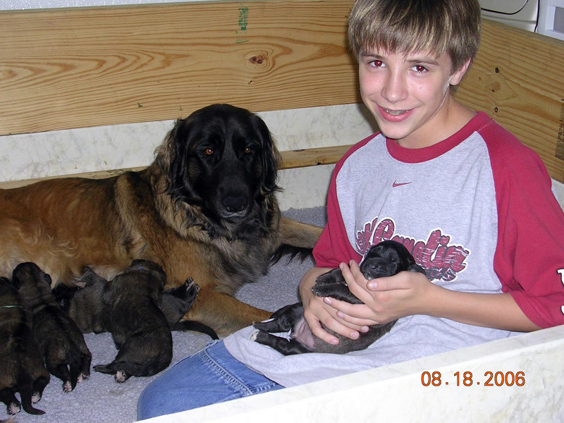 Connor with the babies.  He's holding Mrs. Pink